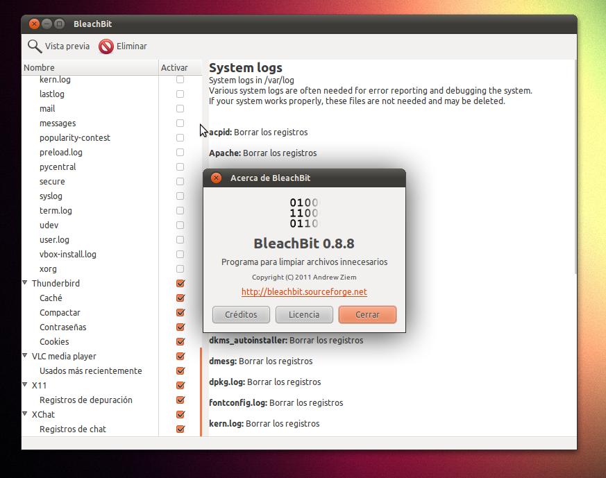 Bleacbit 0.8.8: limpieza y mantenimiento