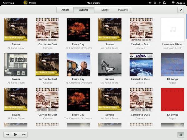 GNOME 3 Music Albums