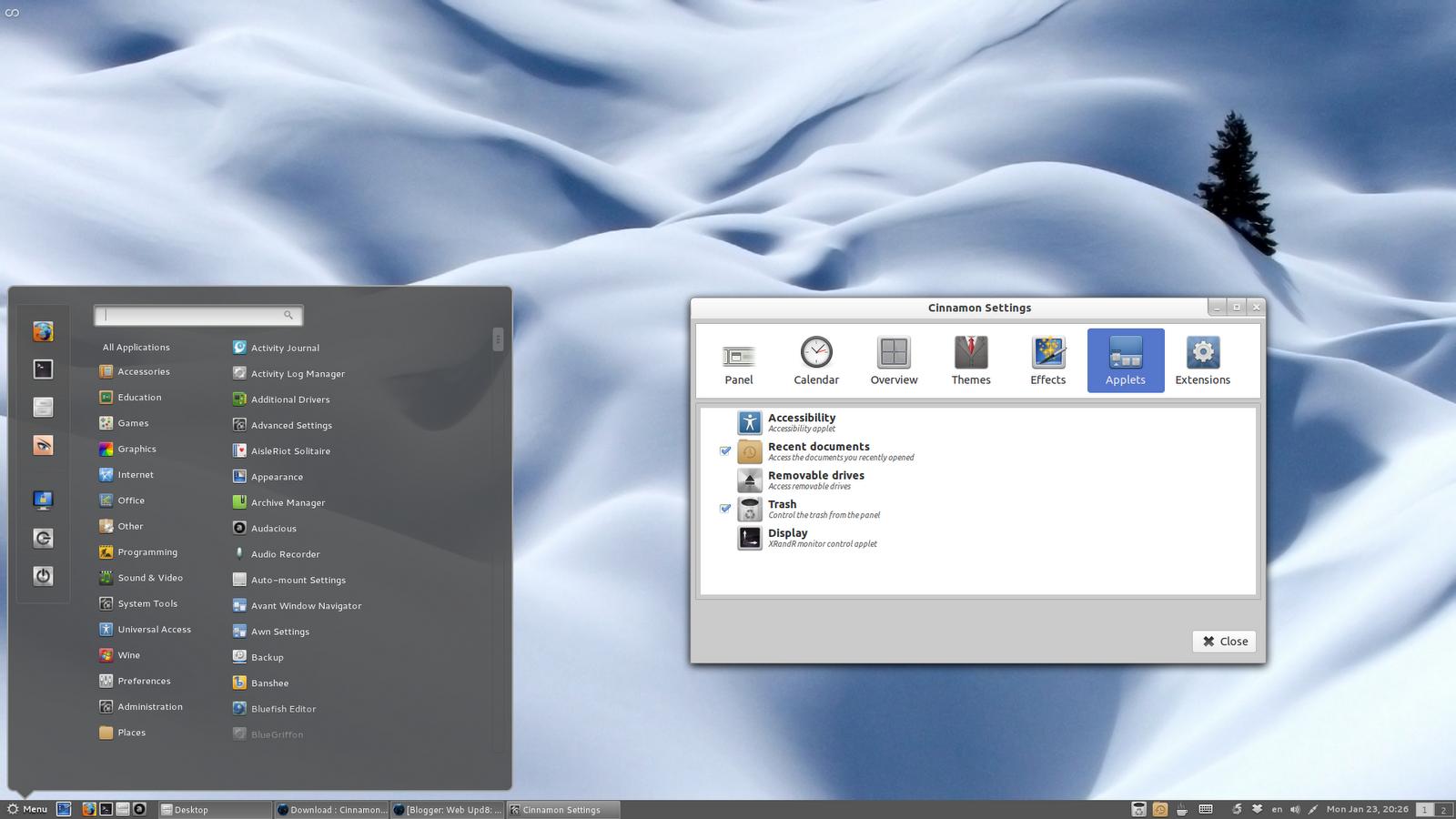 Cinnamon 1.4 en Debian testing